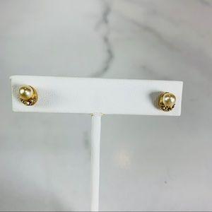 Dainty Pearl Rhinestone Stud Post Earrings